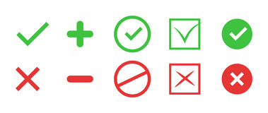 Correct and incorrect icons. True and false signs. Vector. True and false signs. Correct and incorrect icons Stock Image