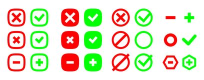 Correct and incorrect icons. True and false signs. Vector set. Correct and incorrect icons. True and false signs. Vector set vector illustration