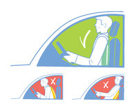 Correct and incorrect position in the car. Correct and incorrect position when riding in the car, back pain Royalty Free Stock Images