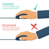 Correct and incorrect position of hands on mouse. Wrong and right using computer mouse, infographic. Press key, cursor. Pc device. Vector illustration flat Stock Photography
