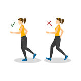 Correct or Incorrect Positions for Running. Vector Royalty Free Stock Images