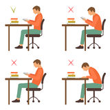 Correct and incorrect sitting position, reading. Desk posture, vector illustration Royalty Free Stock Photos