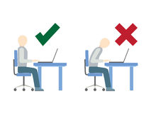 Correct and incorrect sitting posture at computer. Stock Photography