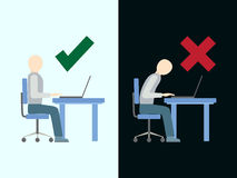 Correct and incorrect sitting posture at computer. Royalty Free Stock Photos