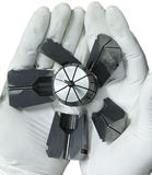 Correct milling machine tool broken on hand glove isolate Royalty Free Stock Photo