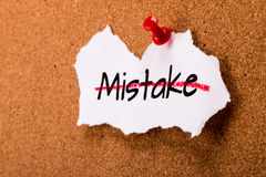 Correct mistakes. Concept on noticeboard stock images