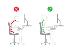 Correct posture in sitting working. Correct body alignment in sitting working with computer