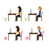 Correct posture while working at the computer. Vector Royalty Free Stock Image