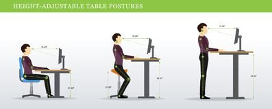 Correct postures for Height Adjustable and Standing Desks. Height Adjustable and Standing Desks correct poses. Ergonomics healthy postures Stock Image