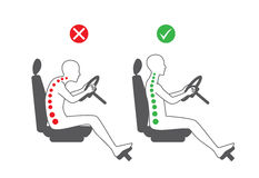 Correct sitting position in driving royalty free illustration