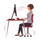 Correct sitting position, office desk posture Stock Photography