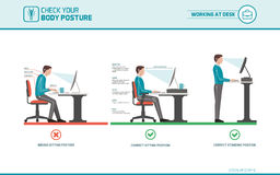 Free Correct Sitting Posture At Desk Stock Photography - 90415832