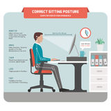 Correct sitting posture at desk Stock Photo