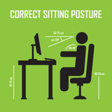 Correct sitting posture. Vector infographics. Posture correct, health correct sitting, body correct sitting infographic. Correct sitting posture. Vector Stock Photos