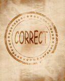 Correct stamp on grunge background Royalty Free Stock Images