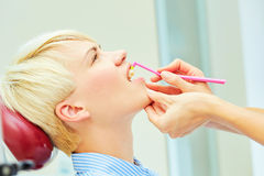 The correct use of a tooth brush for perfect oral Stock Image