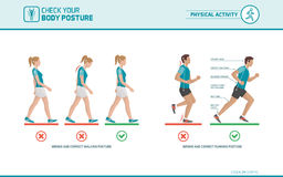 The correct walking and running posture. Body ergonomics, sports and health infographic stock illustration