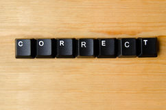 Correct word. With keyboard buttons stock photo