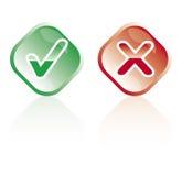 Correct and wrong buttons stock photos