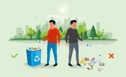 Correct and Wrong Littering Garbage around the Trash Bin with Pe vector illustration