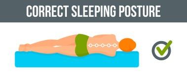 Correcte de banner horizontale, vlakke stijl van de slaaphouding vector illustratie