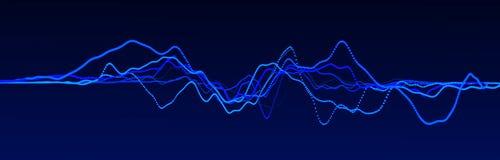 Correcte golfelement Abstracte blauwe digitale equaliser Grote gegevensvisualisatie Dynamische lichte stroom het 3d teruggeven royalty-vrije illustratie