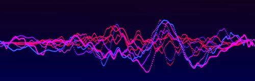 Correcte golfelement Abstracte blauwe digitale equaliser Grote gegevensvisualisatie Dynamische lichte stroom het 3d teruggeven vector illustratie