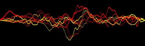 Correcte golfelement Abstracte zwarte digitale equaliser Grote gegevensvisualisatie Dynamische lichte stroom het 3d teruggeven vector illustratie