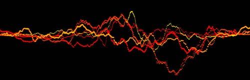 Correcte golfelement Abstracte zwarte digitale equaliser Grote gegevensvisualisatie Dynamische lichte stroom het 3d teruggeven royalty-vrije illustratie