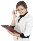Correcting glasses female student with clipboard Stock Photography