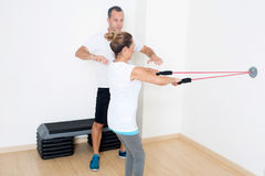 Correcting a skipping rope exercise Stock Photography
