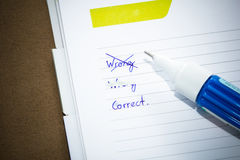 Correcting text. Royalty Free Stock Photos