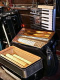 Correction accordion. Divorced harmonica for repair and cleaning Royalty Free Stock Photography