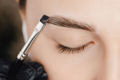 Free Correction And Tint Of Eyebrows, Master Applies Brush To Woman Marking On Brow Stock Photography - 182876272