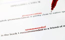 Correction anglaise de faute d'orthographe de plan rapproché Image libre de droits