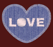 Correction de denim avec la broderie d'amour Image stock