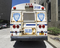 Correction Department bus in New York. NEW YORK CITY- JUNE 13, 2015: Correction Department bus parked in front of New York City Criminal Court Royalty Free Stock Image