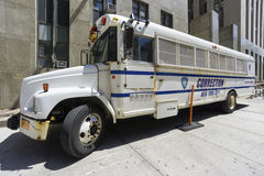 Correction Department bus in New York. NEW YORK CITY- JUNE 13, 2015: Correction Department bus parked in front of New York City Criminal Court Stock Photography