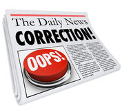 Correction Newspaper Error Mistake Reporting Fix Revision Royalty Free Stock Images
