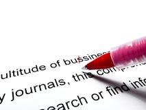 Correction rouge de stylo Images stock