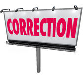 Correction Word Billboard Revising Updating Mistake Error Stock Photography