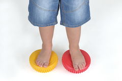 Corrective exercises for children with flat feet Stock Images