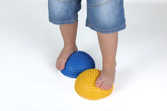 Corrective exercises for children with flat feet Stock Photos