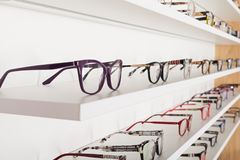 Corrective eye glasses. Picture of corrective eye glasses in an optics store royalty free stock images