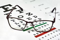 Corrective glasses and spreadsheet. Corrective glasses on the background of the Snellen chart stock images