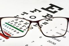 Corrective glasses and spreadsheet. Corrective glasses on the background of the Snellen chart stock photo