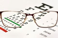 Corrective glasses and spreadsheet. Corrective glasses on the background of the Snellen chart royalty free stock photo