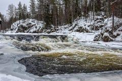 Corredeira do rio de Kitkajoki Fotografia de Stock