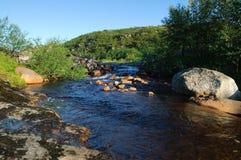 A corredeira no rio Kola Peninsula Fotos de Stock Royalty Free