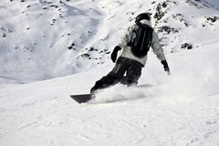 Corrediça extrema da snowboarding da montanha superior Fotos de Stock Royalty Free